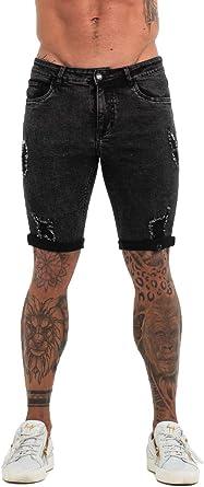 GINGTTO Pantalones Cortos de Jean para Hombre, elásticos