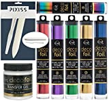 Deco Foil Transfer Sheets, Red, Vibrant Rainbow, Green, Deep Blue, Purple, Gold Bundle with Transfer Gel and Pixiss Bone Folder and Knife Spreader Tool Set