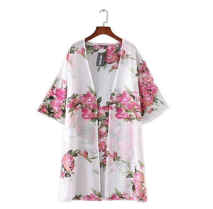 Tongshi Las Mujeres de la impresión Floral de la Gasa Floja Mantón Kimono Cardigan Cubierta Superior