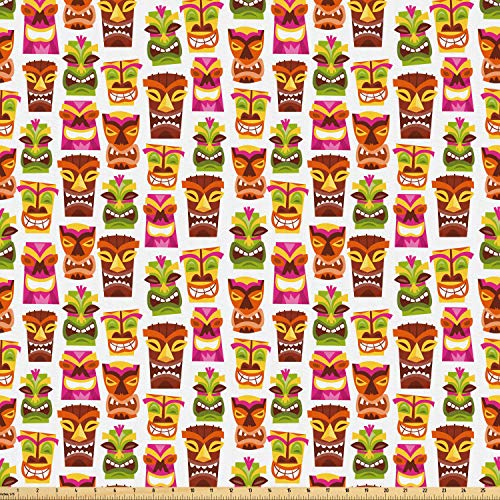 Ambesonne Tiki Bar Fabric by The Yard, Sixties Retro Inspired Hawaiian Party Happy Tiki Pattern Colorful, Microfiber Fabric for Arts and Crafts Textiles & Decor, 1 Yard, Multicolor from Ambesonne