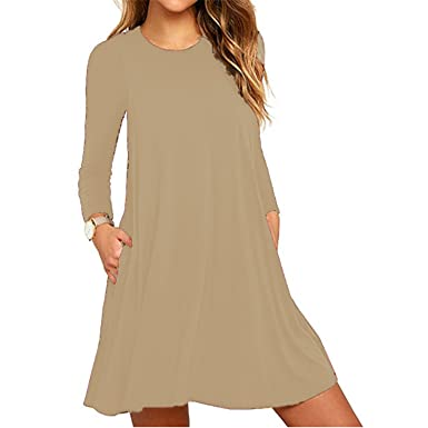 df6b8867134f Fashion Women s Loose T-Shirt Dresses Casual Plain Swing Long Sleeve Tunic  Dress (Khaki