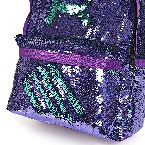 HeySun Flip Sequins Backpack Glitter Bookbag for Girls with Pencil Pouch(Teal/Black)