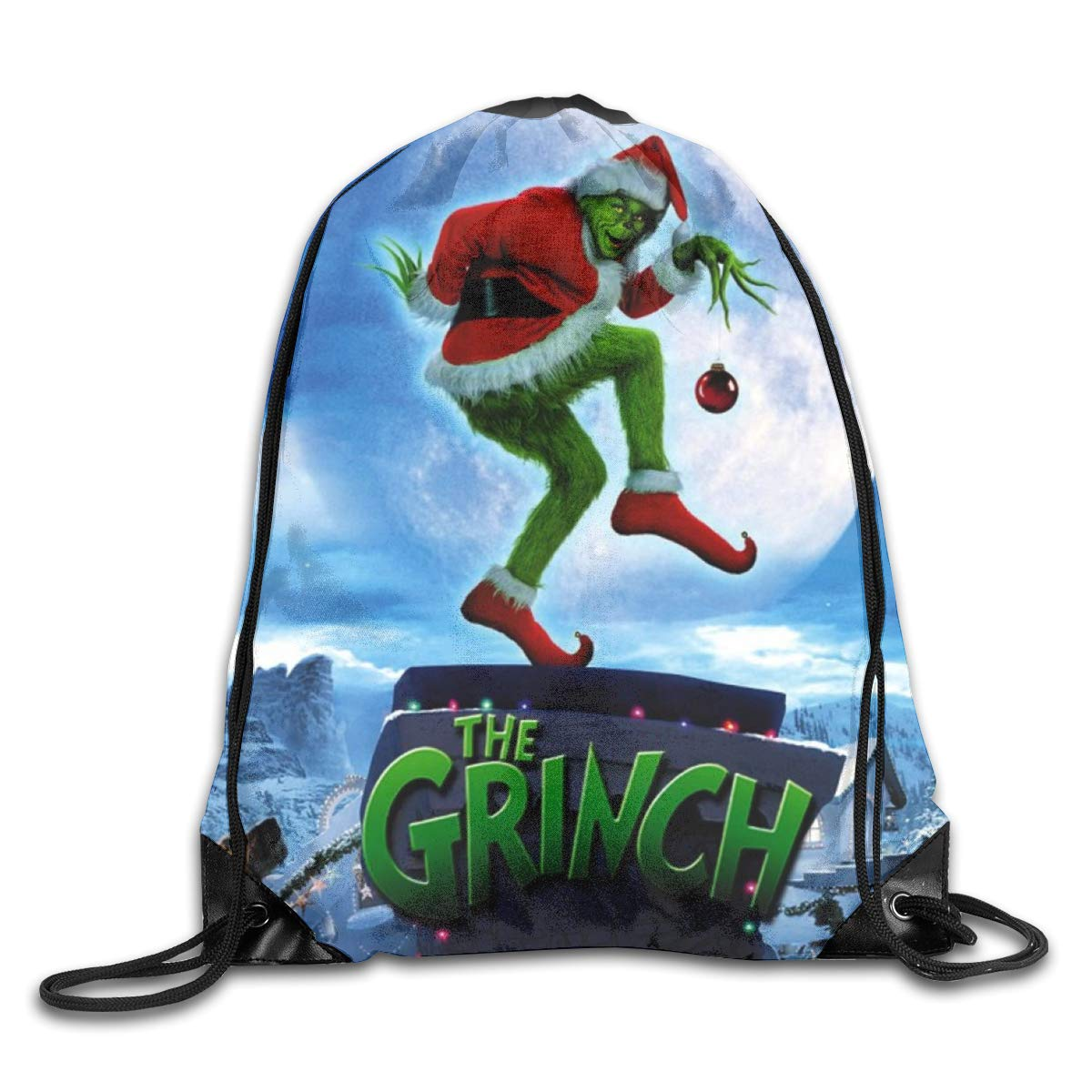 6581b89f3602 Amazon.com  CNJELLAW G-Grin-ch Cute Drawstring Backpack String Bags Hiking  Polyester Shoulder Bag  Home   Kitchen