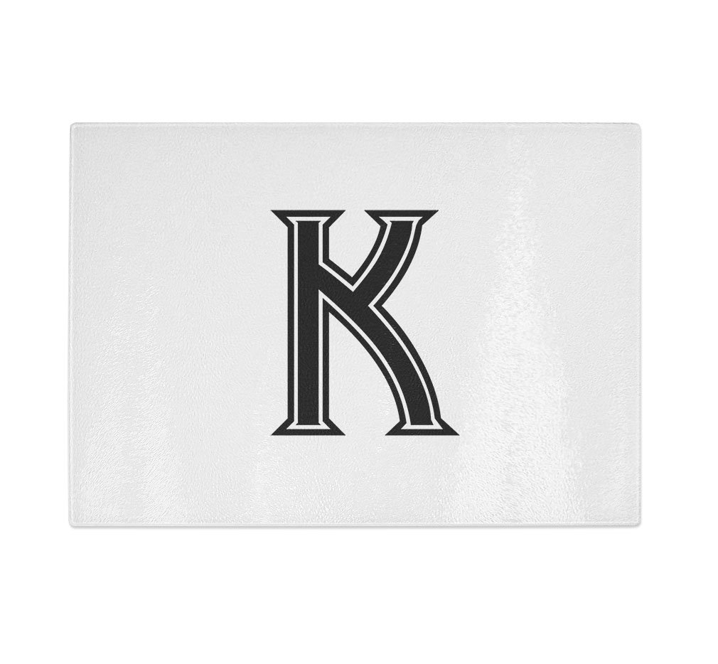 ''K '' College Font Initial Monogram Letter K Kitchen Bar Glass Cutting Board - 11 in x 16 in