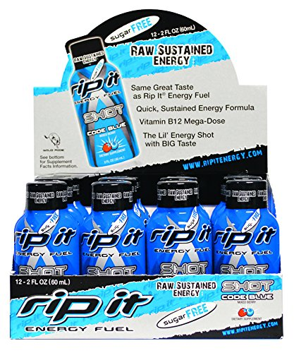 Rip It Sugar Free Code Blue Fuel Energy Shot, Mixed Berry, 2 Ounce (Pack of  12)