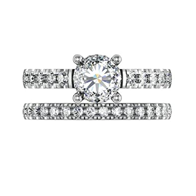 b1016b8023b8c Amazon.com: MoAndy 925 Sterling Silver Ring, Sparkling CZ 4 Prongs ...