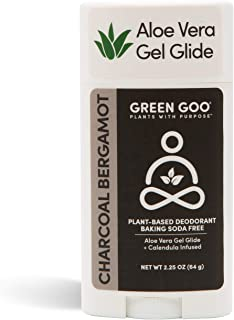product image for Green Goo Natural Deodorant Gel for Men and Women, Charcoal, Oval, bergamot, 2.25 Ounce