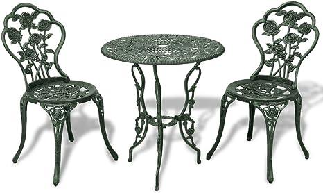 Vidaxl Set Bistro 3 Pz Da Esterno Alluminio Fuso Verde Tavolo E Sedie Giardino Amazon It Giardino E Giardinaggio
