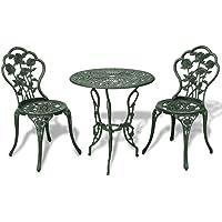 vidaXL Bistro Set 3 Pieces Green Cast Aluminium Outdoor Patio Dining Furniture