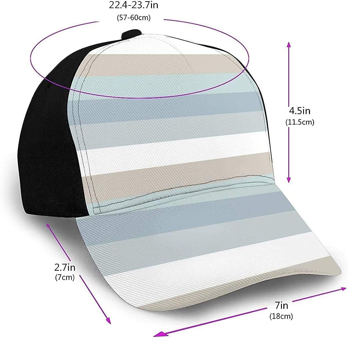 Light Blue Green Gray Stripe Lightweight Unisex Baseball Caps Adjustable Breathable Sun Hat for Sport Outdoor