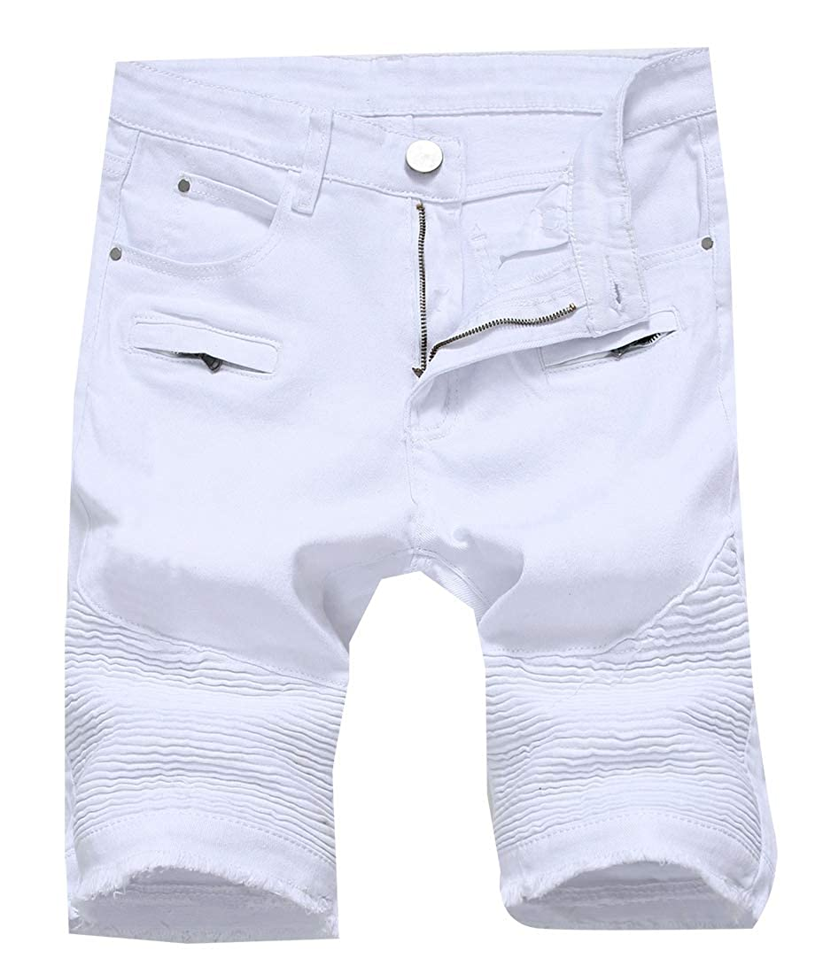 omniscient Mens Summer Ripped Destroyed Distressed Washed Jeans Denim Shorts