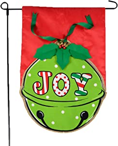 Christmas Garden Flag - Holiday JOY Bell Merry Christmas Garden Flag with 3D Bells and Leaves on Burlap - 12x18 Home Garden Flag