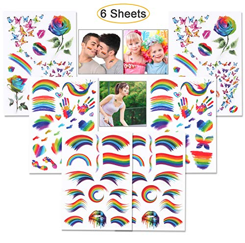 Hartop 6 Sheets Rainbow Tattoos Rainbow Stickers Temporary Waterproof Tattoos for Pride Parades and Celebrations