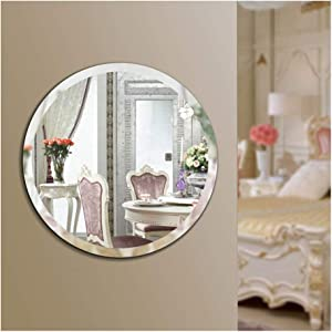 "Beauty4U Round Beveled Frameless Wall Mirrors - 20"" Diameter Vanity Make Up for for Bathroom, Bedroom, Wall Décor"