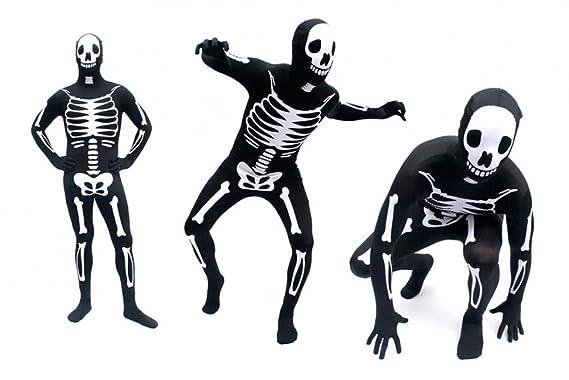 Goods & Gadgets GmbH Spandex-Lycra Ganzkörper Body Suit Anzug - Skelett / Halloween / Karneval Kostüm (Large)