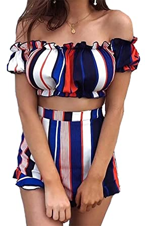 46c12070e Amazon.com: Crop Top and Shorts Set for Women Off The Shoulder Short  Sleevce Striped Pants Two Piece Romper Jumpsuit Set Outfits: Clothing