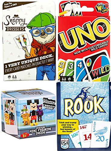 Card Game Triple Pack Uno & Snappy Dressers + Rook with Blind Box Mystery Figure Disney Mini Crossy Roads Character (Dresser Disney)