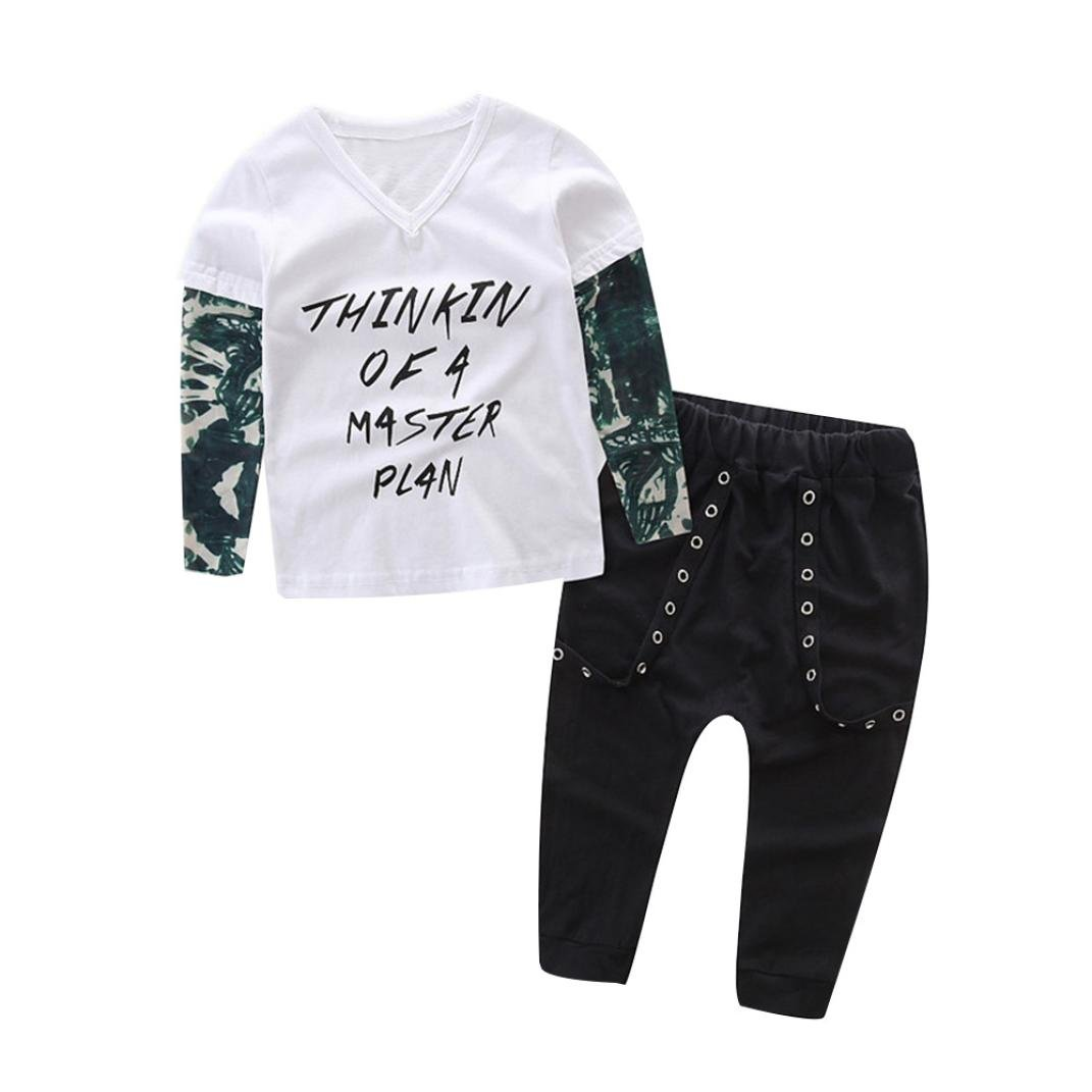 Pollyhb Bady Boy Clothes Set 0-24 Months Newborn Infant Baby Boy Letter Tattoo T Shirt Tops Pants Outfits Clothes Set
