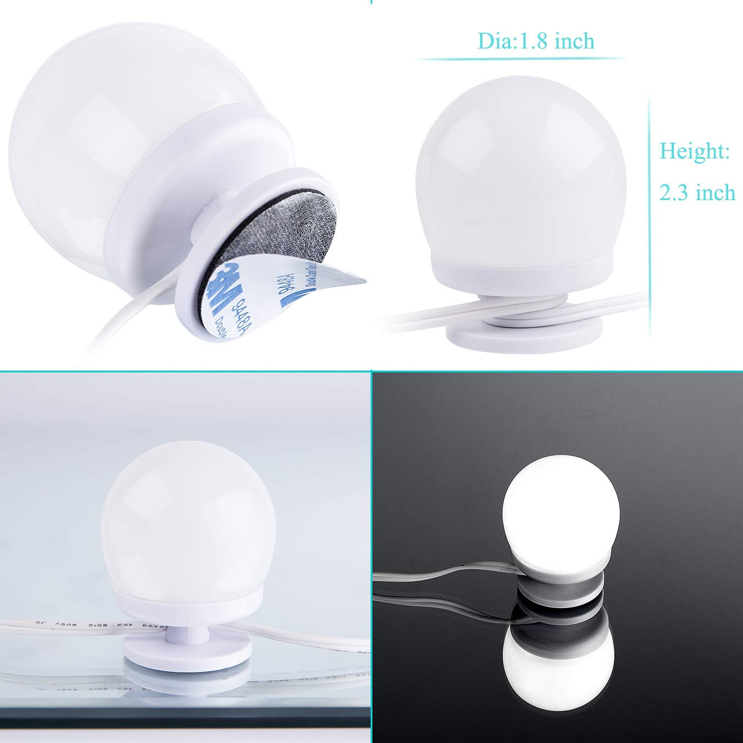 AIBOO Hollywood Style Lighted Vanity Makeup Mirror, LED Vanity Mirror Lights Kit for Dressing Table, Dimmable and Adapter Plug in, Mirror Not Included (16 Bulbs Natural White) by AIBOO (Image #4)