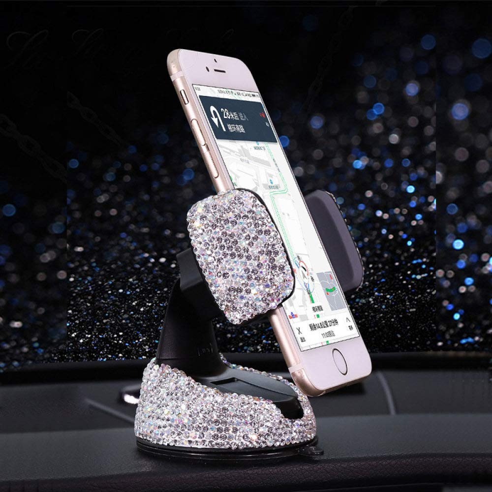 SWCAAE Steering Wheel CoversFashion Rhinestones Car Interior Accessories for Women Crystal Leather Steering Wheel Covers Air Vent Holder Keychain Tissue Box,Glasses clip