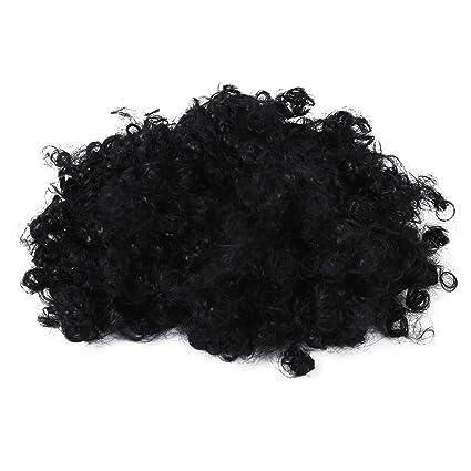 SODIAL(R) Peluca afro enrrollada negra