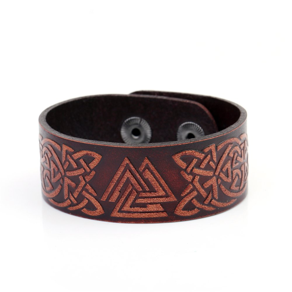 Vintage Punk Viking Celtic Knot Valknut Symbol Double-Clasp Bangle Leather Bracelet