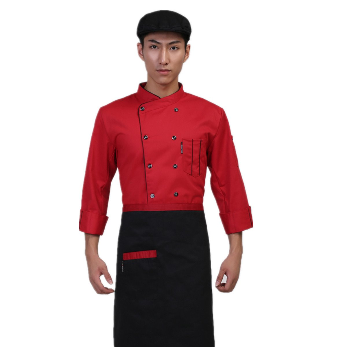 XINFU Unisex-Adult Chef's Uniform Long Sleeves Plus Size Double-Breasted Chef Coats Short Sleeves for Mens Womens