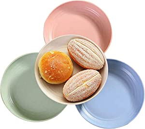 Set of 4 Wheat Straw Plate Dishwasher and Microwave Safe Easy Clean Tableware Plates for Candy Dessert Noodle Steak Christmas Wedding Party Medium 8.8 Inch
