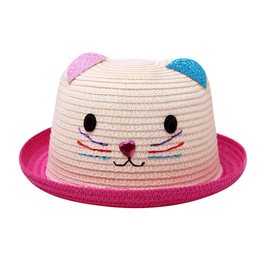 HEETEY Summer Baby Cartoon Children Breathable Hat Straw Hat Kids Hat Boy Girls Hat Cap Childrens Cartoon Cat Color Curling Sunscreen Beach Hat Straw Hat Small Hat
