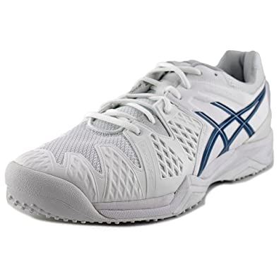 ASICS Gel-Resolution 6 Grass Mens Leather Athletic Running Shoes -  White Blue ( 48905856323f2