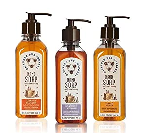 Honey Hand Soap Trio by Savannah Bee Co-Pump bottle-9.5 ounce each-Set of 3
