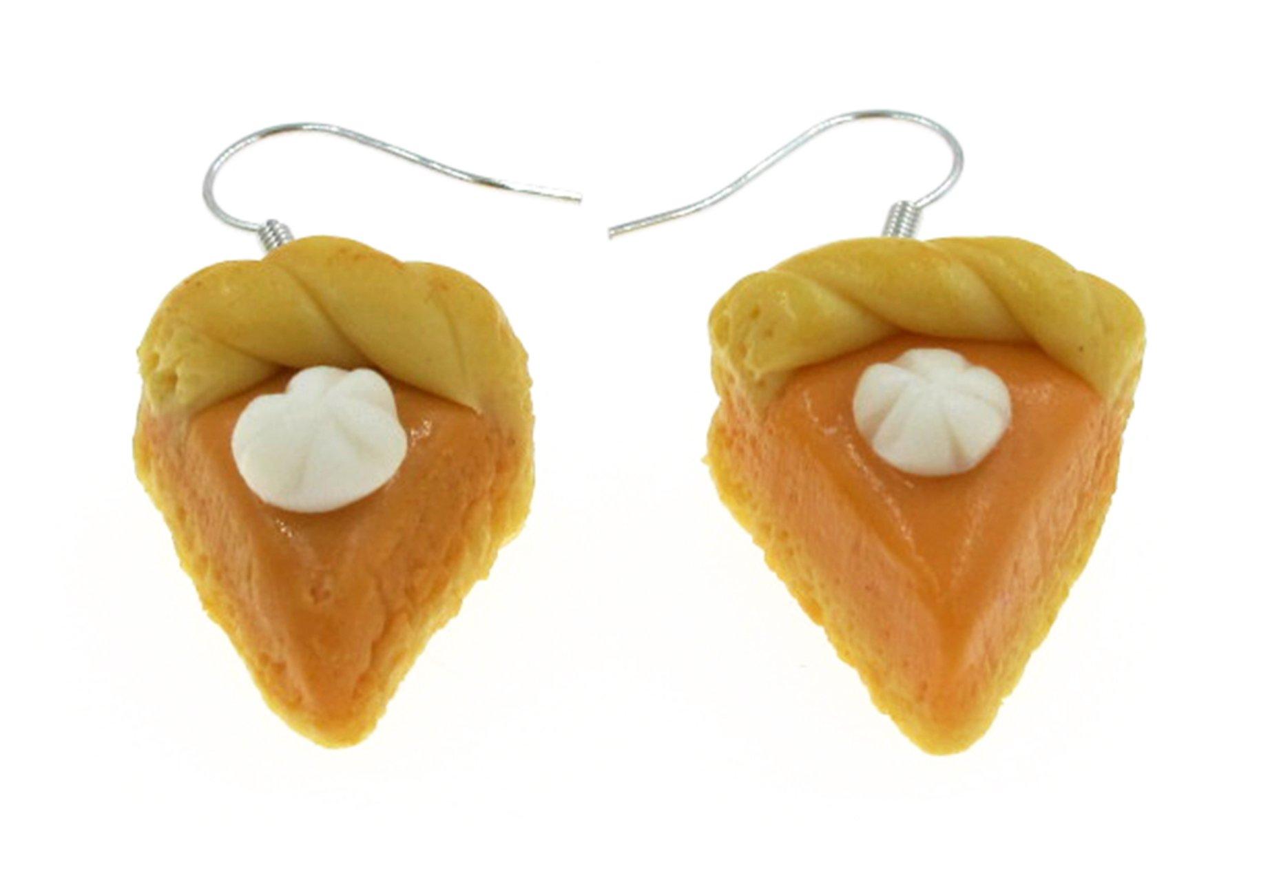 Best Wing Jewelry Halloween Thanksgiving Fall Season''Pumpkin Pie'' Polymer Clay Big Earrings (Braided Crust Edge)