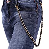 Men Pants Chain Punk Leather Braided in 18K Gold Plated Cuban Chain Trousers Jeans Chain Key Chain Accessories