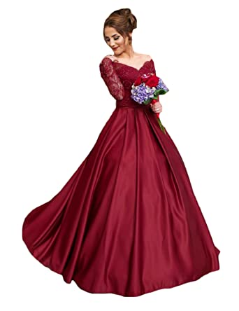 CIRCLEWLD Satin Prom Dresses Ballgown Lace Sleeves Long Off Shoulder Formal Evening Gowns Dark Red Size