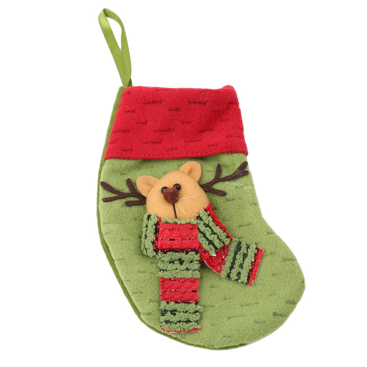 Tcplyn Premium 3D Pattern Christmas Socks Shape Pendant Hanging Gift Bags Home Supplies DecorGreen Deer