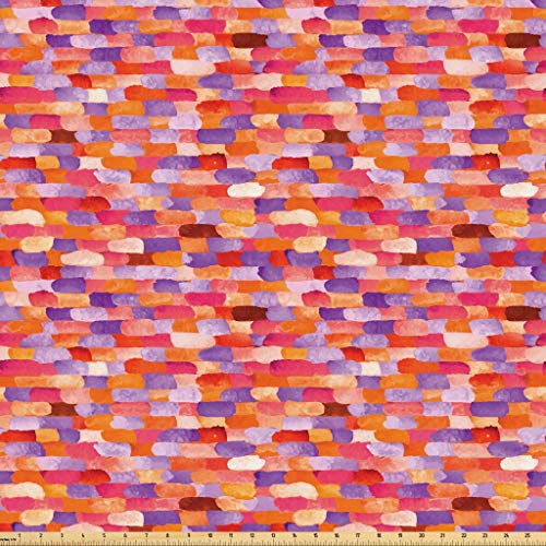 Lunarable Abstract Fabric by The Yard, Vivid Watercolors Featured Brick Wall Unit Pattern with Crimson with Brushstrokes, Microfiber Fabric for Arts and Crafts Textiles & Decor, 5 Yards, Multicolor