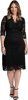 product image for Kiyonna Women's Plus Size Scalloped Boudoir Lace Dress 3X Black Lace Black Lining