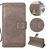 Stysen Galaxy Note 8 Wallet Case,Galaxy Note 8 Floral Case,Pretty Elegant Embossed Totem Flower Pattern Gray Bookstyle Magnetic Closure Pu Leather Wallet Flip Case Cover with Wrist Strap and Stand Function for Samsung Galaxy Note 8-Totem Flower,Gray