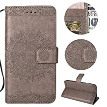 Stysen Galaxy S9 Wallet Case,Galaxy S9 Floral Case,Pretty Elegant Embossed Totem Flower Pattern Gray Bookstyle Magnetic Closure Pu Leather Wallet Flip Case Cover with Wrist Strap and Stand Function for Samsung Galaxy S9-Totem Flower,Gray