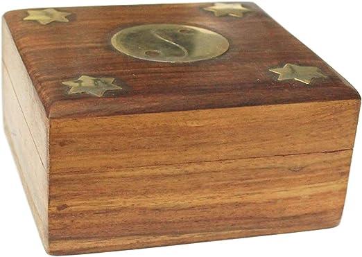 Caja de madera cuadrada con diseño yin y yang dorado: Amazon.es: Hogar