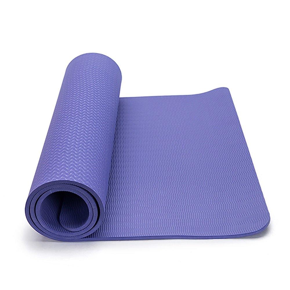 LJJ Yogamatte 8 MM Multifunktions TPE Rutschfeste Fitness Matte Dance Mat (Lila 150 cm X 61 cm)