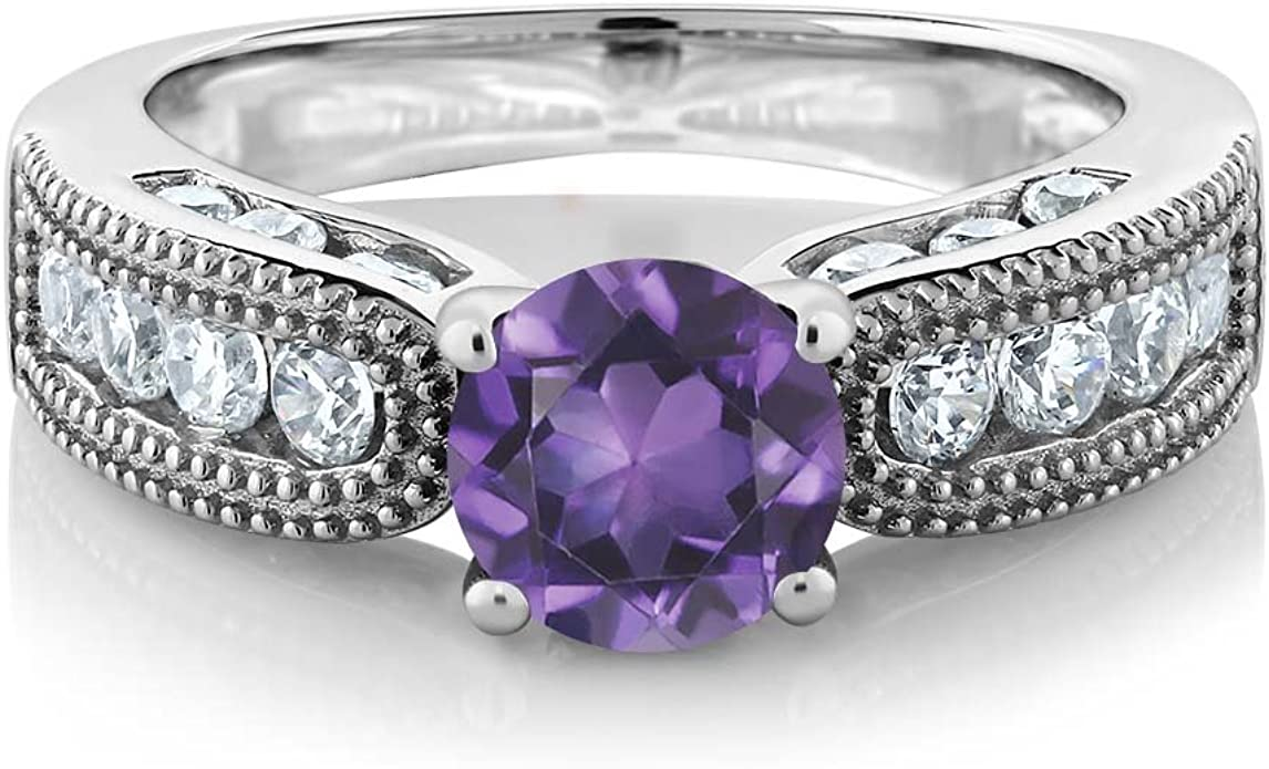 9X7mm Natural Oval Shape African Amethyst White Gold Plated 925 Sterling Silver Ring Silvershake 1.72ct