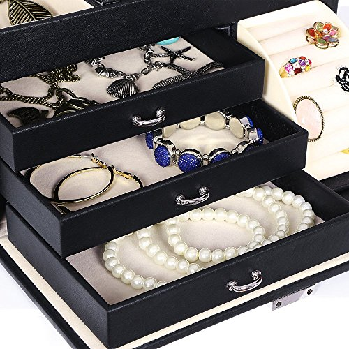 BEWISHOME Jewelry Box Organizer Case Display Storage W/Travel Case Large Mirrored 10 1/4'' x 7 1/16'' x 6 11/16'' Black PU Leather for Girls Women SSH53B by BEWISHOME (Image #3)