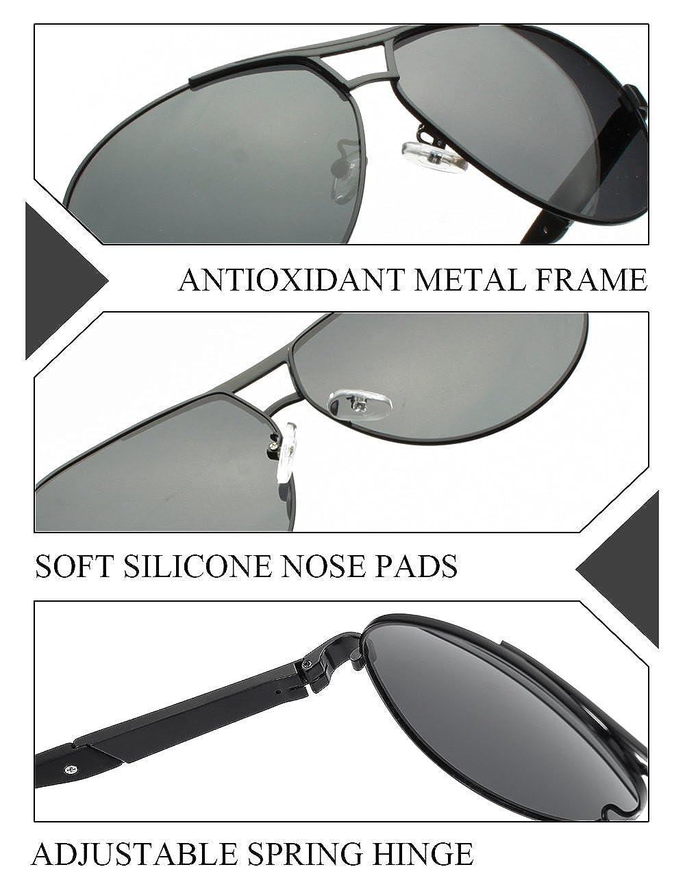 81ca6da297 Amazon.com  WELUK Oversized Mens Aviator Sunglasses Polarized 63mm Driving  UV400 Protection (Black   Grey