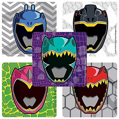 [Power Rangers Dino Charge Masks Stickers - Birthday Party Supplies & Favors - 75 per Pack] (Power Rangers Masks)