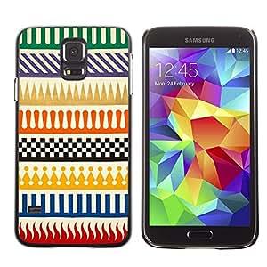 Be Good Phone Accessory // Dura Cáscara cubierta Protectora Caso Carcasa Funda de Protección para Samsung Galaxy S5 SM-G900 // Checkered Pattern Sample Flames Lines
