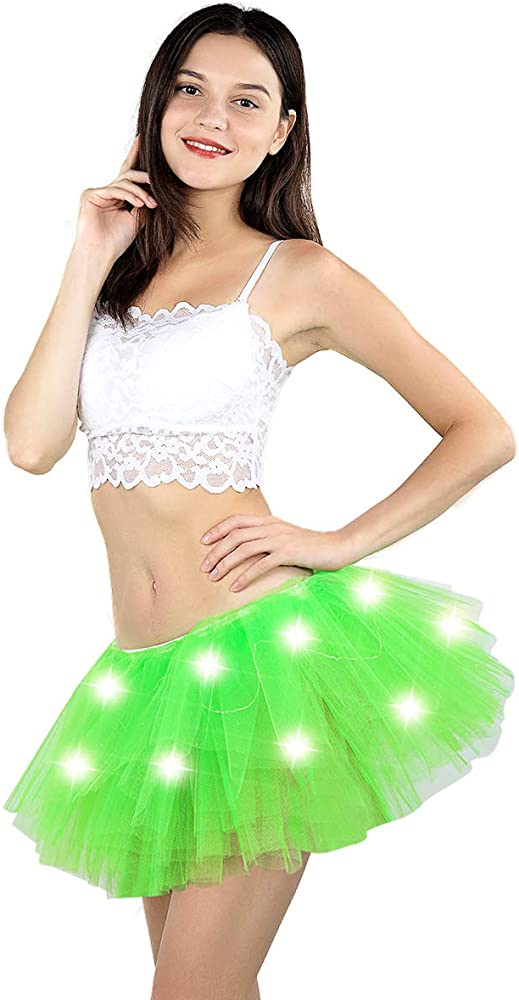 Jasmine Womens LED Light Up Neon Tulle Tutu Skirt