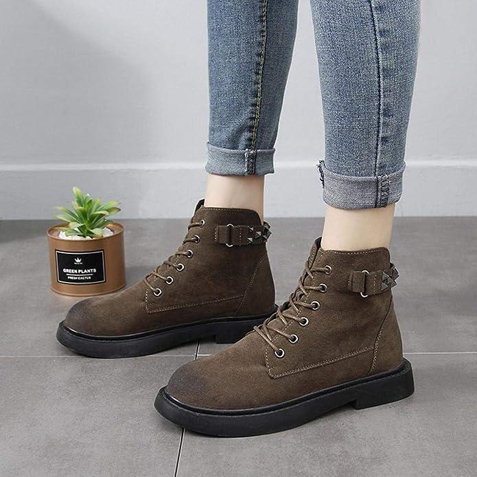 Logobeing Botas de Tobillo de Tacón Bajo Gruesas de Remache de Metal para Mujer Zapatos de Punta Redonda: Amazon.es: Zapatos y complementos