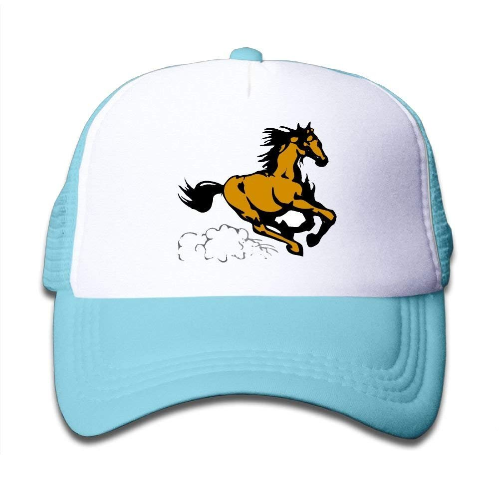 FEAIYEA Running Horse Adjustable Mesh Baseball Caps Kids Trucker Hats Boys and Girls