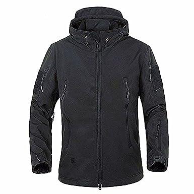Amazon.com: Men's Military Softshell Tactical Jacket Hooded Fleece ...